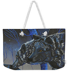 Blue Wolves With Stars Weekender Tote Bag by Mayhem Mediums
