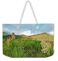 Blue Yucca And Chisos Mountains In Big Bend National Park-texas Weekender Tote Bag by Ruth Hager