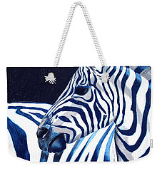 Blue Zebra Weekender Tote Bag by Alison Caltrider