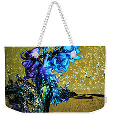Weekender Tote Bag featuring the mixed media Bluebells In Water Splash by Peter v Quenter