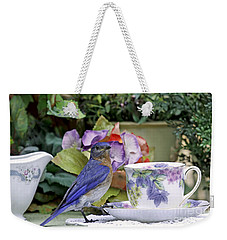 Bluebird And Tea Cups Weekender Tote Bag by Luana K Perez