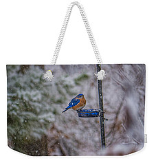 Bluebird In Snow Weekender Tote Bag