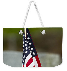 Bluebird Perched On American Flag Weekender Tote Bag