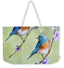 Bluebirds And Blossoms Weekender Tote Bag