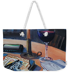 Blues And Wine Weekender Tote Bag by Donna Tuten