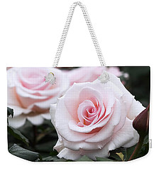 Blush Pink Roses Weekender Tote Bag by Rona Black