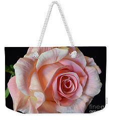 Weekender Tote Bag featuring the photograph Blushing Pink Rose by Jeannie Rhode