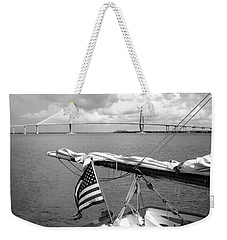 Boat And Charleston Bridge Weekender Tote Bag by Ellen Tully