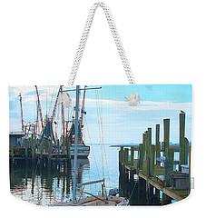 Boat At Dock By Jan Marvin Weekender Tote Bag