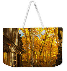 Boat House Among The Autumn Leaves  Weekender Tote Bag by Jerry Cowart