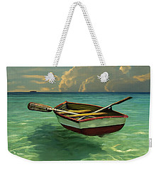 Boat In Clear Water Weekender Tote Bag by David  Van Hulst