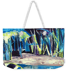 Boat On Shore Line With Trees On Land Weekender Tote Bag