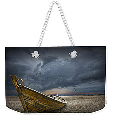 Boat With Gulls On The Beach With Oncoming Storm Weekender Tote Bag