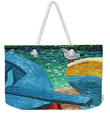 Weekender Tote Bag featuring the painting Boats And Bird At Rest by Laura Forde