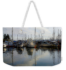 Weekender Tote Bag featuring the photograph Boats At Marina On Liberty Bay by Greg Reed