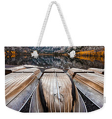 Boats At Mountain Lake In Autumn Fine Art Photograph Print Weekender Tote Bag by Jerry Cowart