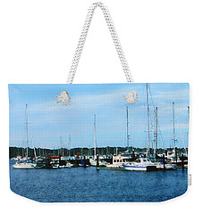 Weekender Tote Bag featuring the photograph Boats At Newport Ri by Susan Savad