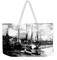 Weekender Tote Bag featuring the digital art Boats At Sundown  by Fine Art By Andrew David