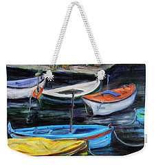 Boats In Front Of The Buildings II Weekender Tote Bag by Xueling Zou