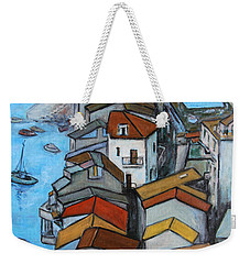 Boats In Front Of The Buildings Iv Weekender Tote Bag