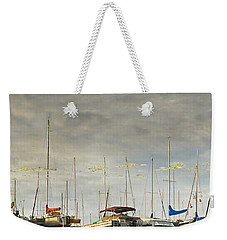 Weekender Tote Bag featuring the photograph Boats In Harbor Reflection by Peter v Quenter