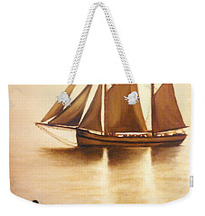 Weekender Tote Bag featuring the painting Boats In Sun Light by Janice Dunbar