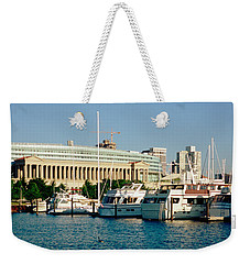 Boats Moored At A Dock, Chicago Weekender Tote Bag by Panoramic Images
