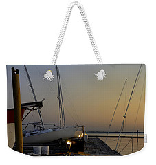Boats Moored To Pier At Sunset Weekender Tote Bag