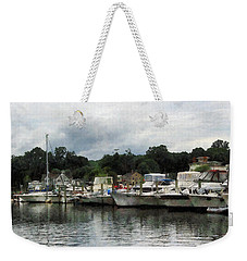 Weekender Tote Bag featuring the photograph Boats On A Cloudy Day Essex Ct by Susan Savad