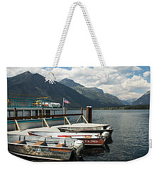 Boats On Lake Mcdonald Weekender Tote Bag by Nina Prommer