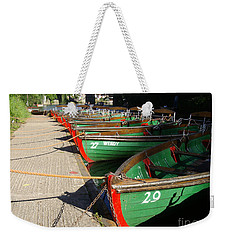 Weekender Tote Bag featuring the photograph Boats Waiting For Kids by Doc Braham