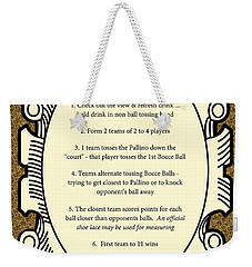 Bocce Weekender Tote Bag by Nancy Patterson