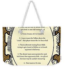 Bocce Weekender Tote Bag