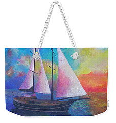 Weekender Tote Bag featuring the painting Bodrum Gulet Cruise by Tracey Harrington-Simpson