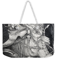 Weekender Tote Bag featuring the drawing Bogomils Duckhunting Mask by Otto Rapp