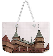 Weekender Tote Bag featuring the photograph Bojnice Castle by Les Palenik
