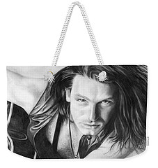 Weekender Tote Bag featuring the drawing Bono by Janice Dunbar