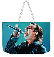 Bono Of U2 Painting Weekender Tote Bag by Paul Meijering