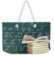 Books And Chalkboard Weekender Tote Bag by Chevy Fleet
