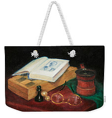 Books-chess-coffee Weekender Tote Bag