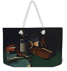Books Mug Pipe And Violin Weekender Tote Bag by John Frederick Peto