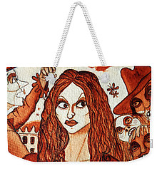 Weekender Tote Bag featuring the painting Boor People And Girl by Don Pedro De Gracia
