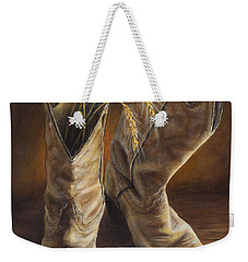 Weekender Tote Bag featuring the painting Boots And Wheat by Kim Lockman
