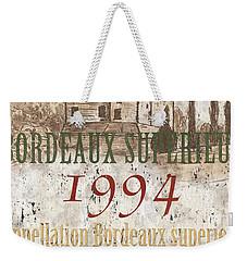 Bordeaux Blanc Label 2 Weekender Tote Bag by Debbie DeWitt
