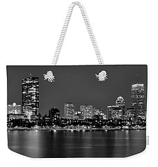 Boston Back Bay Skyline At Night Black And White Bw Panorama Weekender Tote Bag