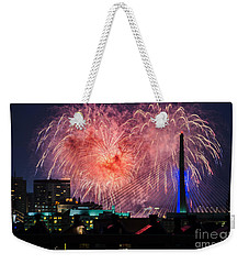 Weekender Tote Bag featuring the photograph Boston Fireworks 1 by Mike Ste Marie