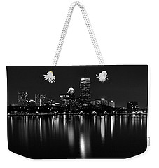 Boston Skyline By Night - Black And White Weekender Tote Bag