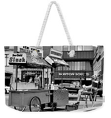 Boston Street Scene Black And White Weekender Tote Bag