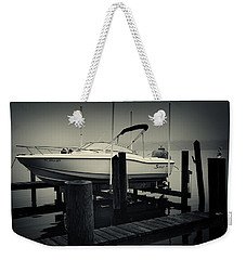 Boston Whaler In The Fog Weekender Tote Bag