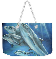 Weekender Tote Bag featuring the painting Bottlenose Dolphins by Thomas J Herring